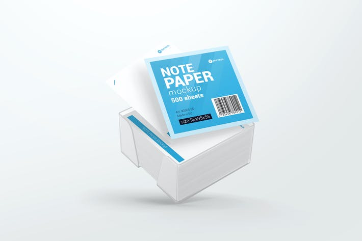 Note Paper Cube Plastic Holder Mockup