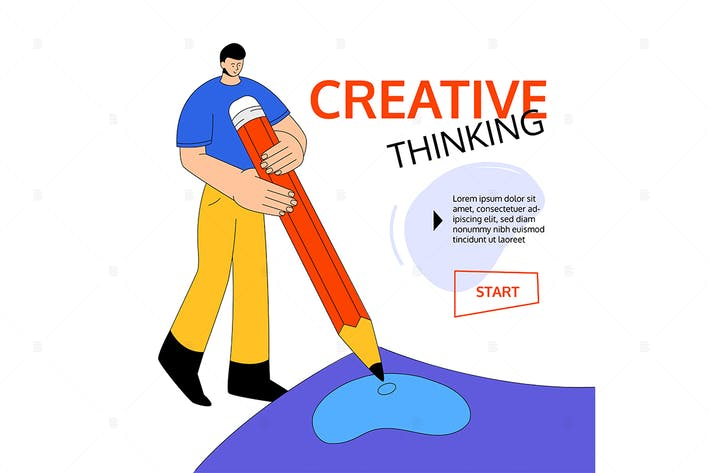 Thumbnail for Creative thinking - flat design style illustration