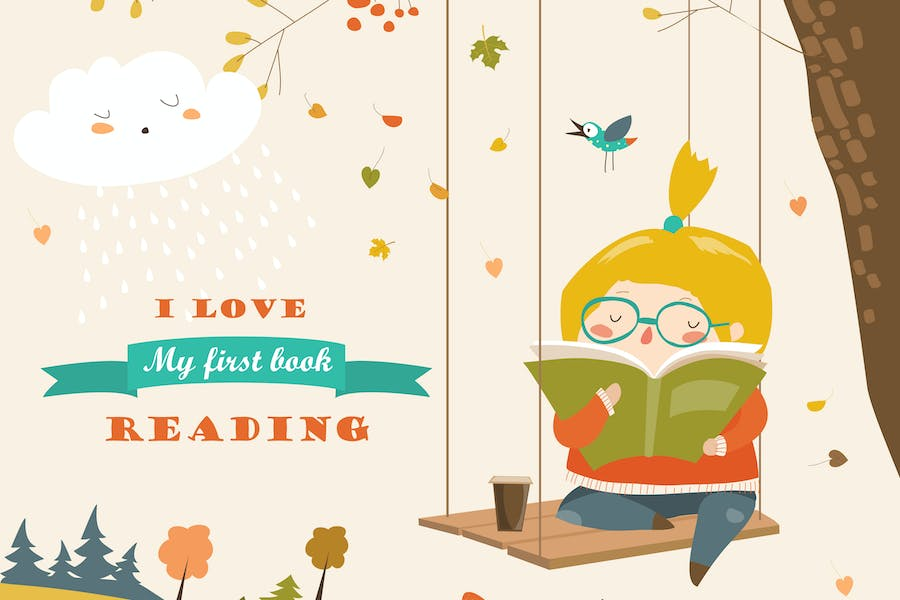 Cute girl swinging and reading a book