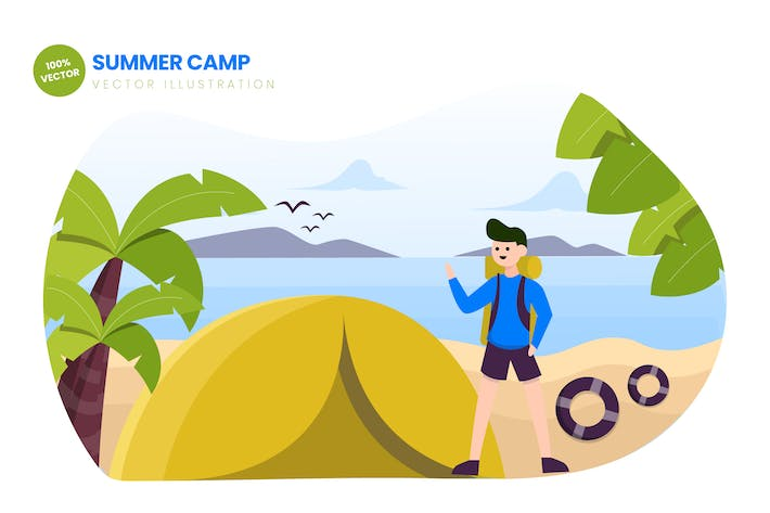Thumbnail for Summer Camp Flat Vector Illustration