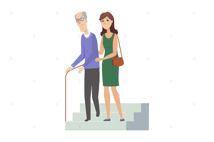 Volunteer with senior man - flat illustration