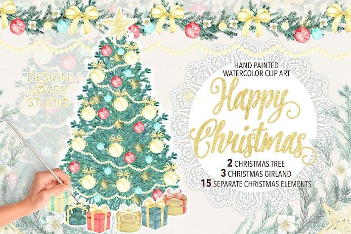 Thumbnail for Дизайн акварели «Рождественская елка»