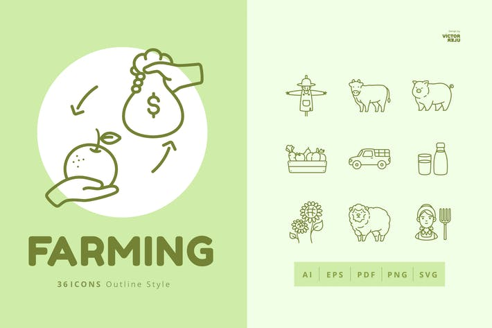 36 Farming Elements Outline Style