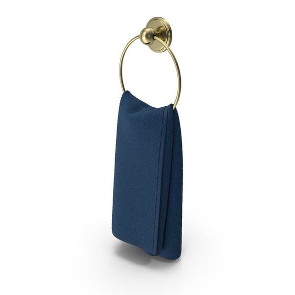 Gold Towel Ring with Blue Towel