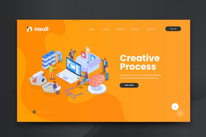 Thumbnail for Isometric Creative Process Web PSD and AI Vector