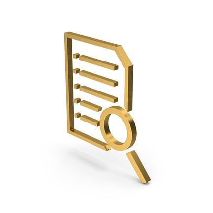 Symbol Document With Magnifying Glass Gold