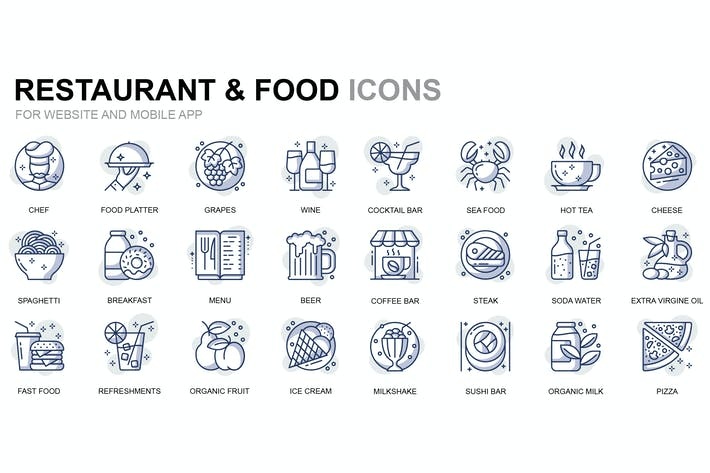 Thumbnail for Restaurant and Food Thin Line Icons