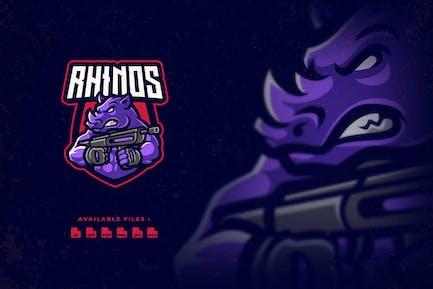 Rhinos Shooter Character Esport Logo