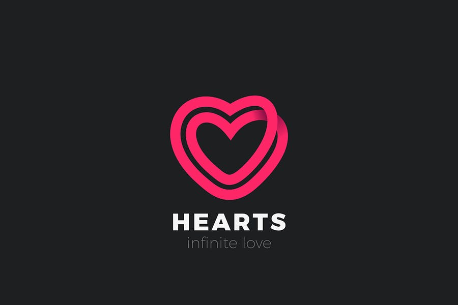 Heart Logo Love infinite looped Linear Outline