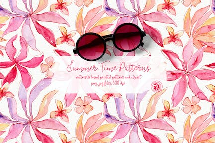 Summer Time Watercolor Patterns Set