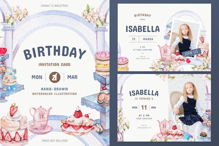 Thumbnail for Sweet bakery theme birthday invitation card