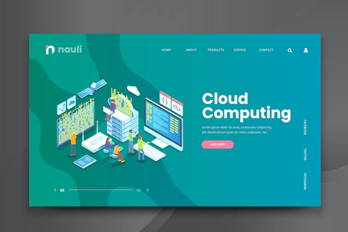 Thumbnail for Isometric Cloud Computing Web PSD and AI Vector