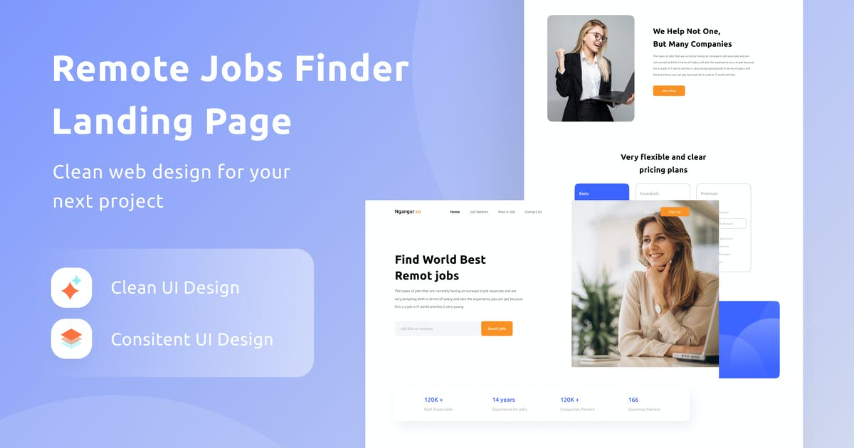Download Remote Jobs Finder Landing Page by DimoGraphic