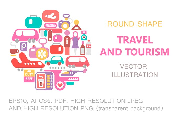 Thumbnail for Travel and Tourism round shape vector illustration