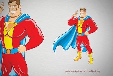 cartoon of superhero with cape costume