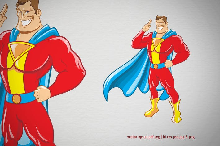 Thumbnail for cartoon of superhero with cape costume