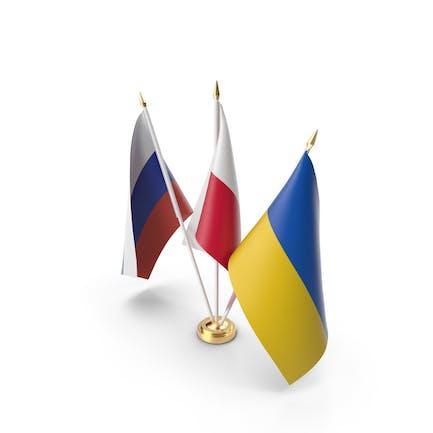 Table Flags Russia Ukraine Poland