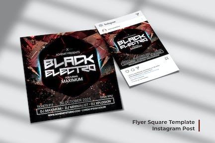 Black Electro Flyer & Social Post