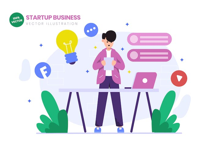 Thumbnail for Startup Business Launch Flat Vector Illustration