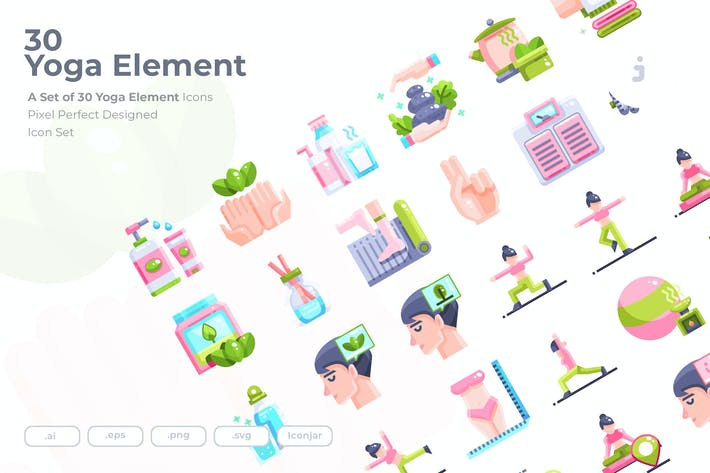Thumbnail for 30 Yoga Element Icons - Flat