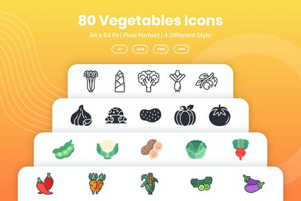 80 Vegetables Icons Pack