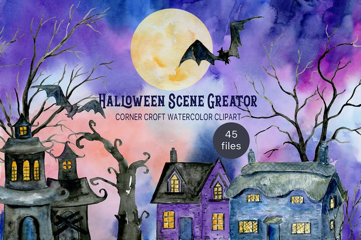 Cover Image For Watercolor Halloween Scene Creator