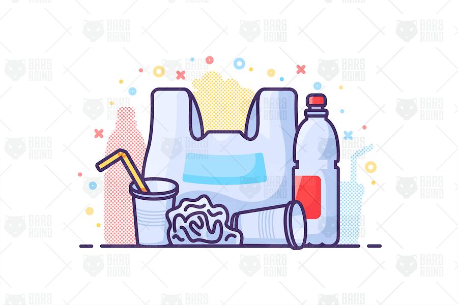 Kunststoff-Abfall-Konzept Illustration
