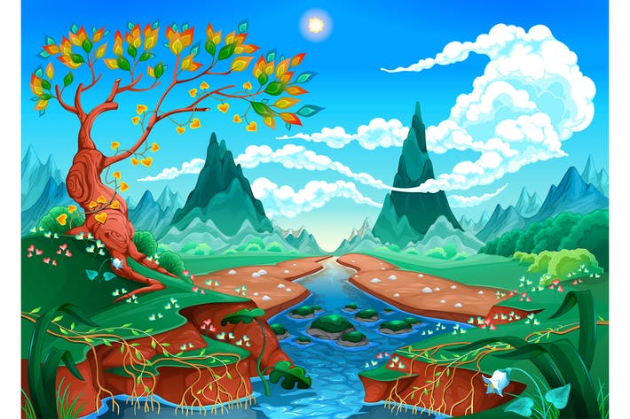 Thumbnail for Natural Landscape with River Tree and Mountains