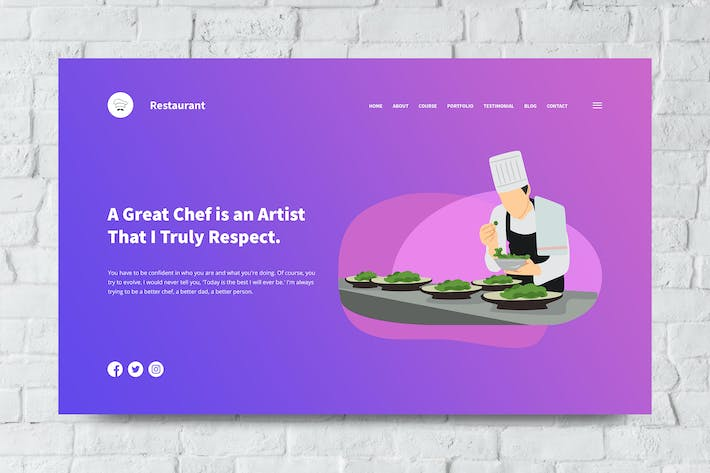 Thumbnail for Restaurant Web Header PSD and Vector Template