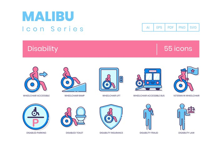 Thumbnail for 55 Disability Icons | Malibu Series