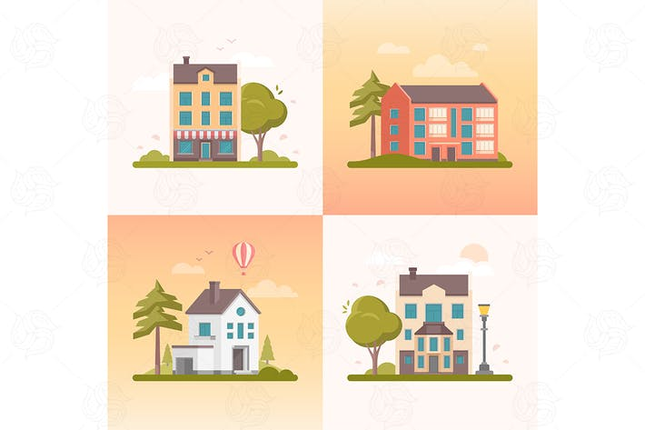 Thumbnail for Nice buildings - set of flat design style elements