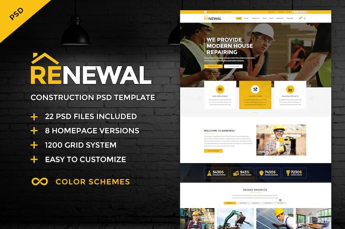 Cover Image For Renewal | Construction & Industrial PSD Template