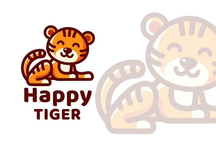 Thumbnail for Happy Tiger Cute Logo Template