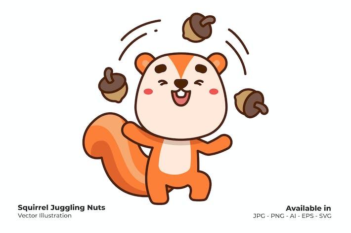 Eichhörnchen Jonglier-Nüsse