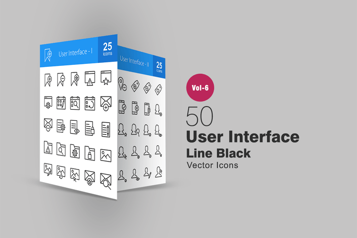 Thumbnail for 50 User Interface Line Icons
