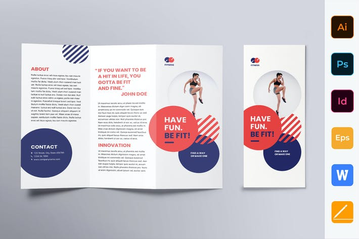 Thumbnail for Fitness Trainer Coach Brochure Trifold