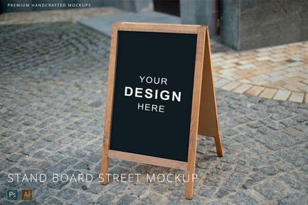 Wooden Stand Board & A-Stand on Street Mockup