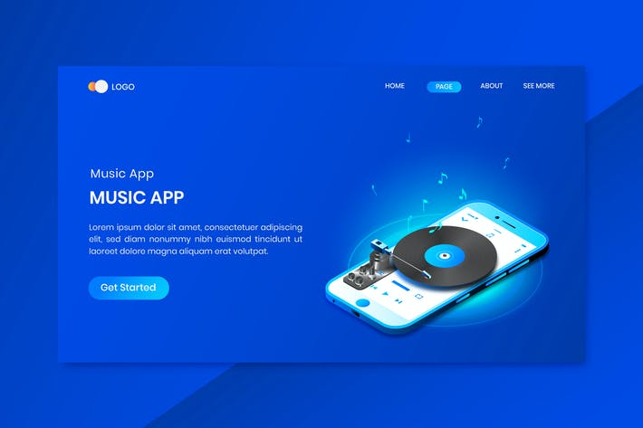 Thumbnail for Mobile Music App Isometric Concept Landing Page