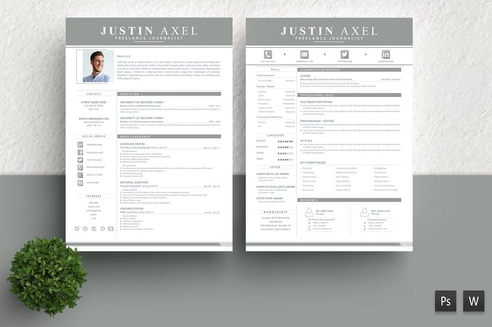 Thumbnail for Clean Resume Template Justin Axel