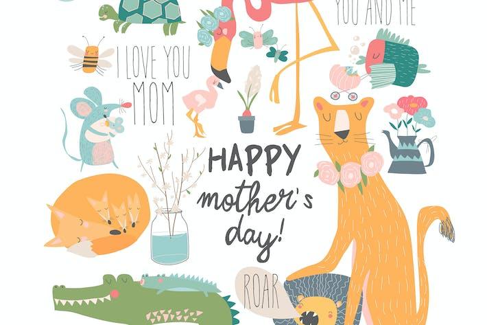 Thumbnail for Вектор набор милых мультфильм животных матерей с