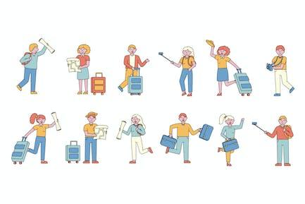 Colleción de personajes de la gente de Lineart de los turistas