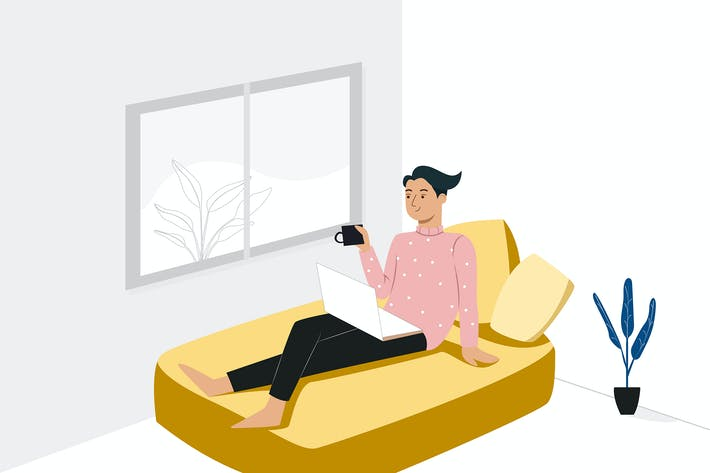 Cover Image For Staying at home concept man on couch.