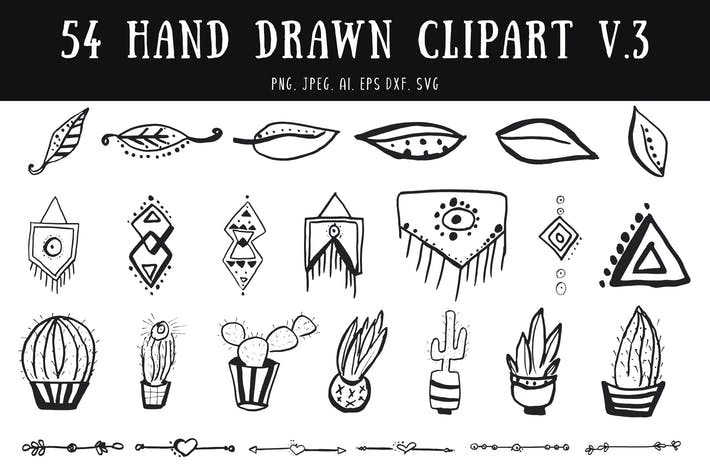Thumbnail for 50+ Hand Drawn Cliparts Ver. 3