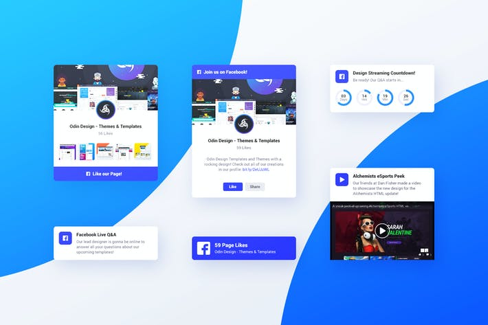 Thumbnail for Asgard Plugin - Facebook UI Cards - PSD Template