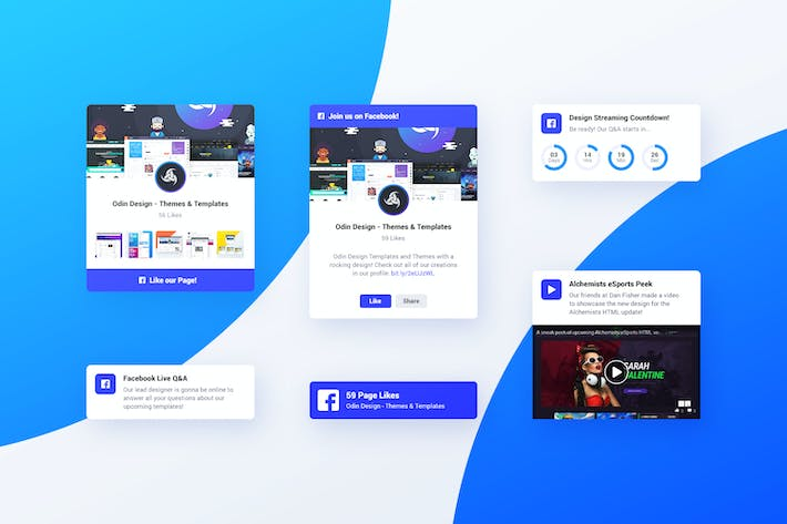 Cover Image For Asgard Plugin - Facebook UI Cards - PSD Template