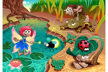 Fairy and Gnomes Playing in the Nature with Animal