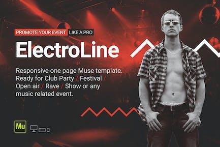 ElectroLine - Музыкальное событие Отзывчивый Шаблон Муза