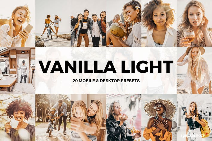 Thumbnail for 20 Vanilla Light Lightroom Presets and LUTs