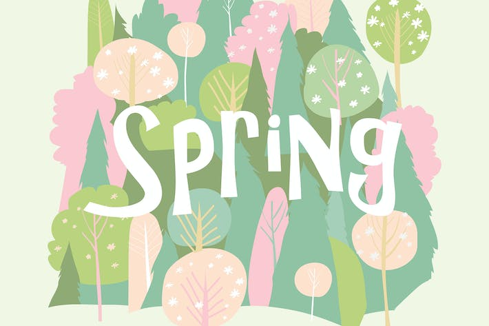 Thumbnail for Vector cartoon spring blossom forest. Hello spring
