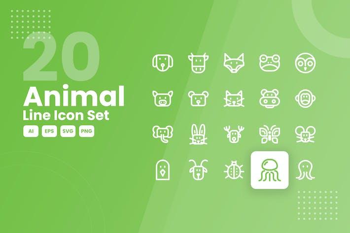 20 Animal Line Icon Set